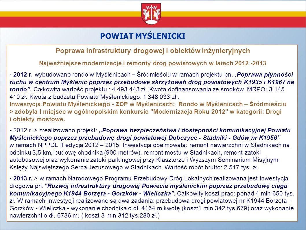 POWIAT MYŚLENICKI Poprawa infrastruktury drogowej i obiektów inżynieryjnych Najważniejsze modernizacje i remonty dróg powiatowych w latach 2012 -2013