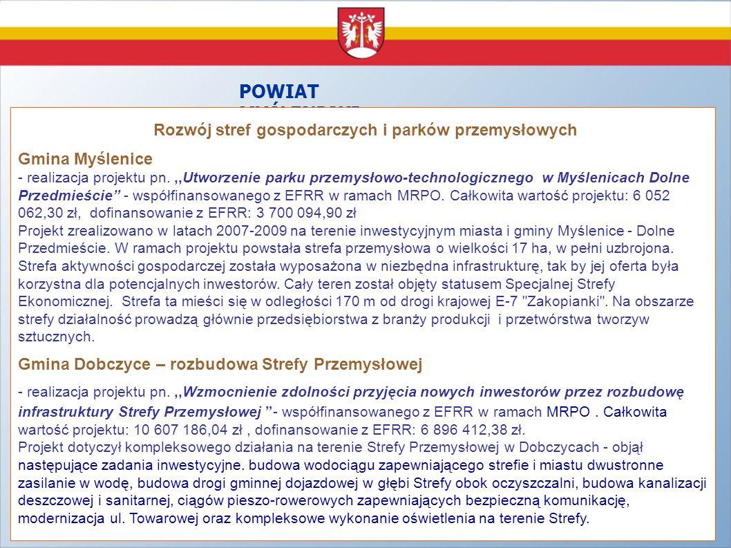 POWIAT MYŚLENICKI Rozwój stref gospodarczych i parków przemysłowych Gmina Myślenice - realizacja projektu pn.,,Utworzenie parku przemysłowo-technologi