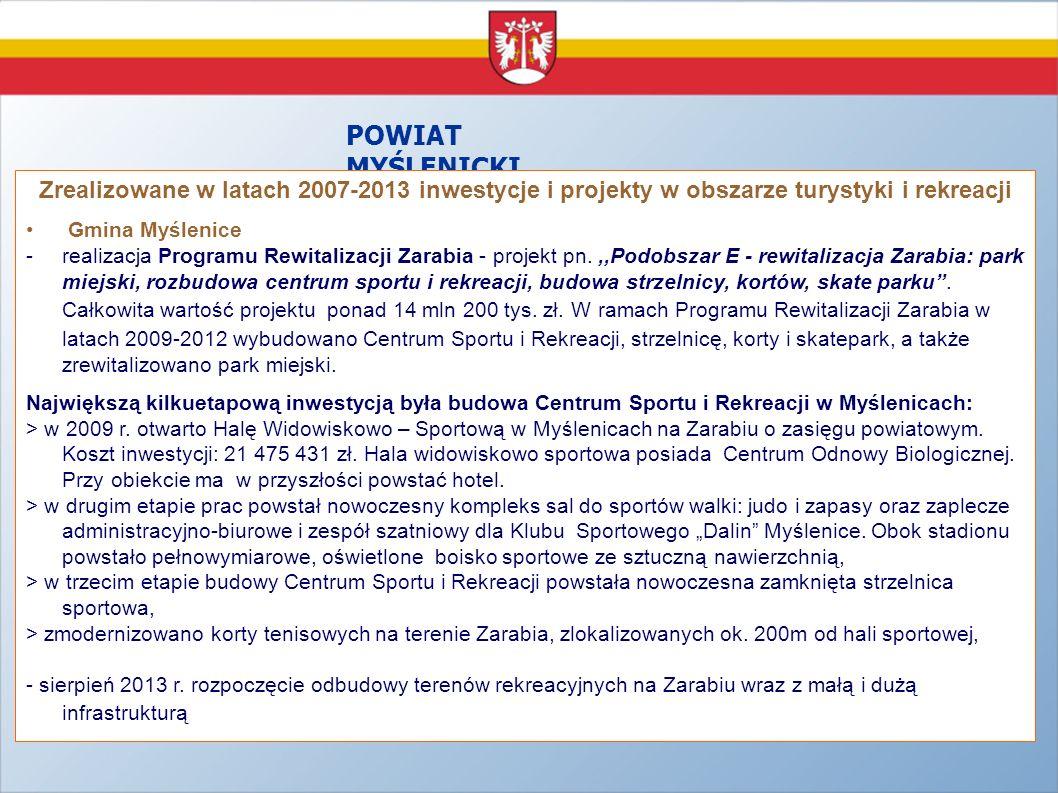 POWIAT MYŚLENICKI Zrealizowane w latach 2007-2013 inwestycje i projekty w obszarze turystyki i rekreacji Gmina Myślenice -realizacja Programu Rewitali