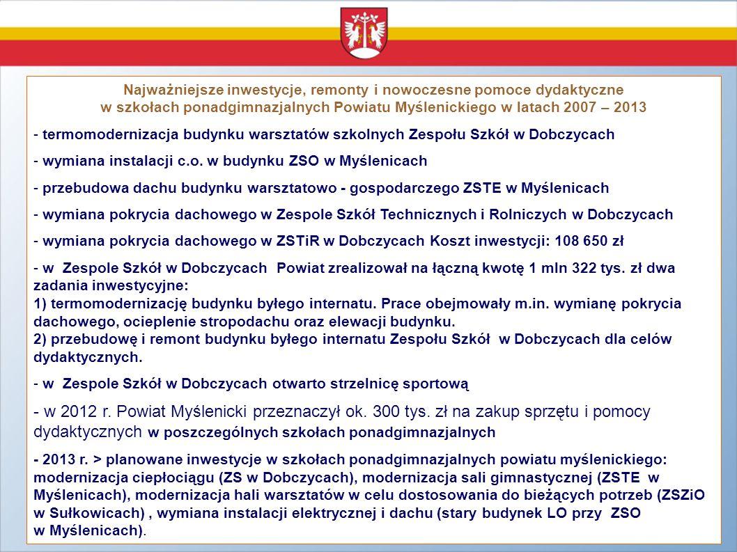 Najważniejsze inwestycje, remonty i nowoczesne pomoce dydaktyczne w szkołach ponadgimnazjalnych Powiatu Myślenickiego w latach 2007 – 2013 - termomode