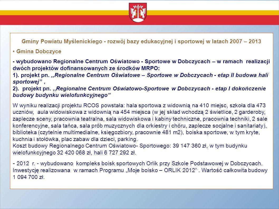 Gminy Powiatu Myślenickiego - rozwój bazy edukacyjnej i sportowej w latach 2007 – 2013 Gmina Dobczyce - wybudowano Regionalne Centrum Oświatowo - Spor
