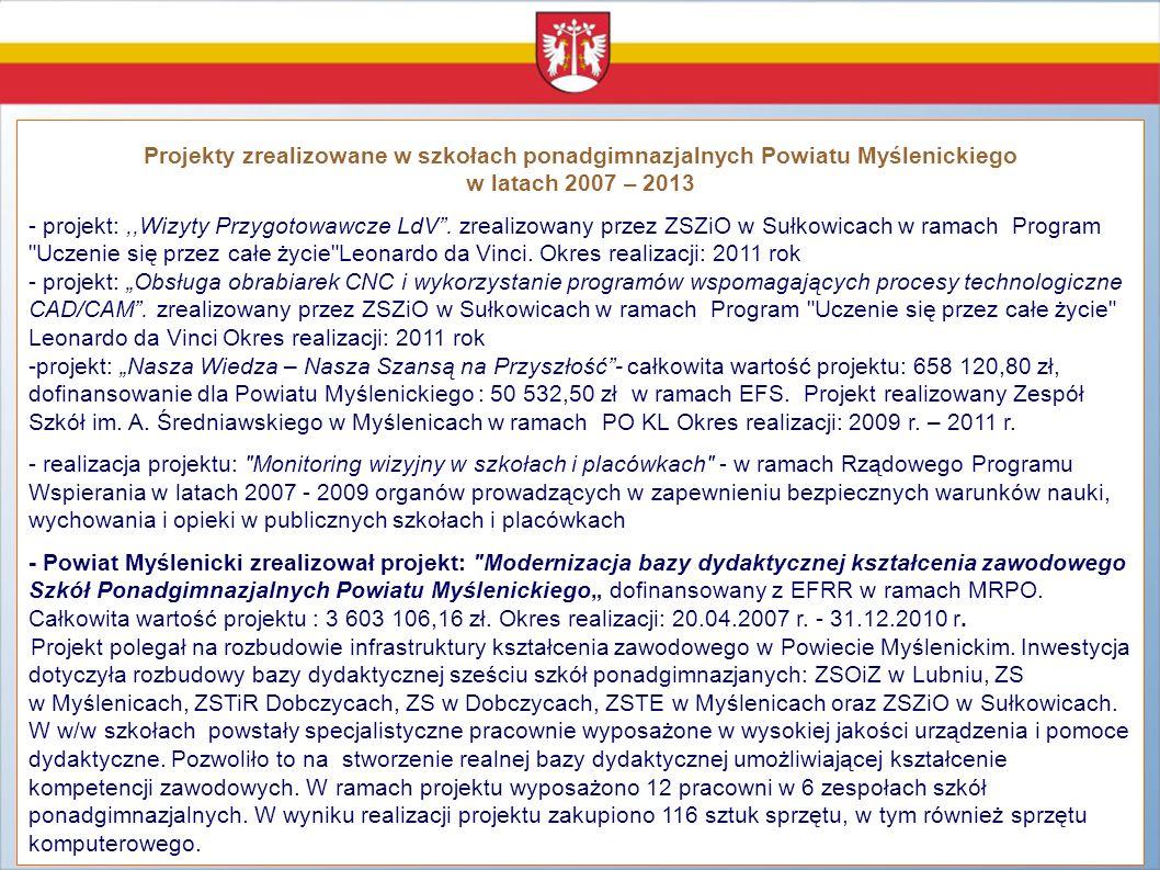 Projekty zrealizowane w szkołach ponadgimnazjalnych Powiatu Myślenickiego w latach 2007 – 2013 - projekt:,,Wizyty Przygotowawcze LdV. zrealizowany prz