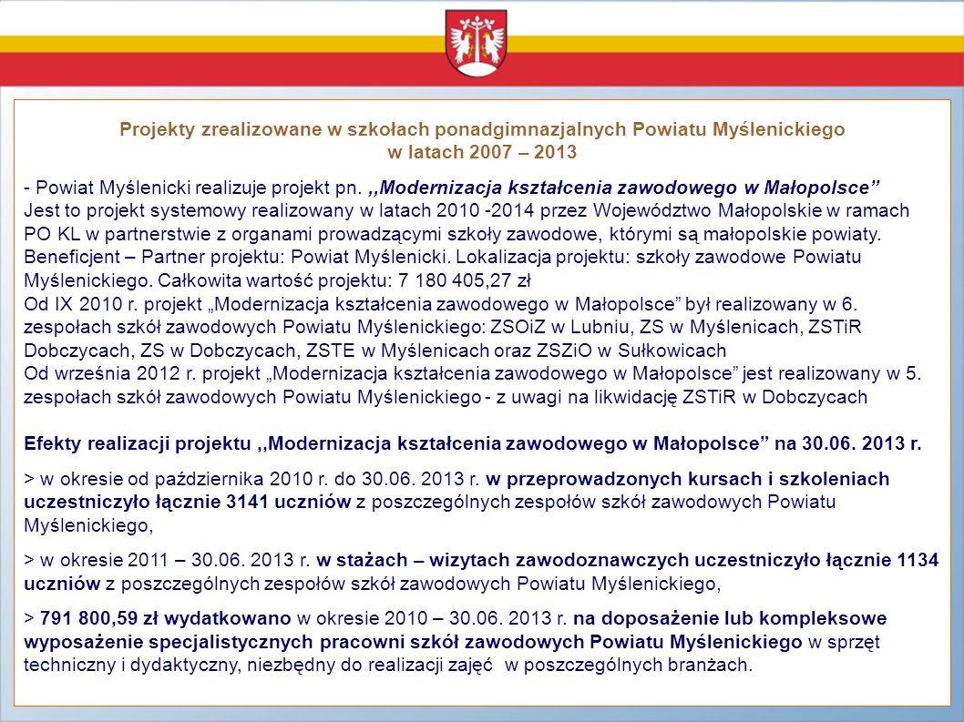 Projekty zrealizowane w szkołach ponadgimnazjalnych Powiatu Myślenickiego w latach 2007 – 2013 - Powiat Myślenicki realizuje projekt pn.,,Modernizacja