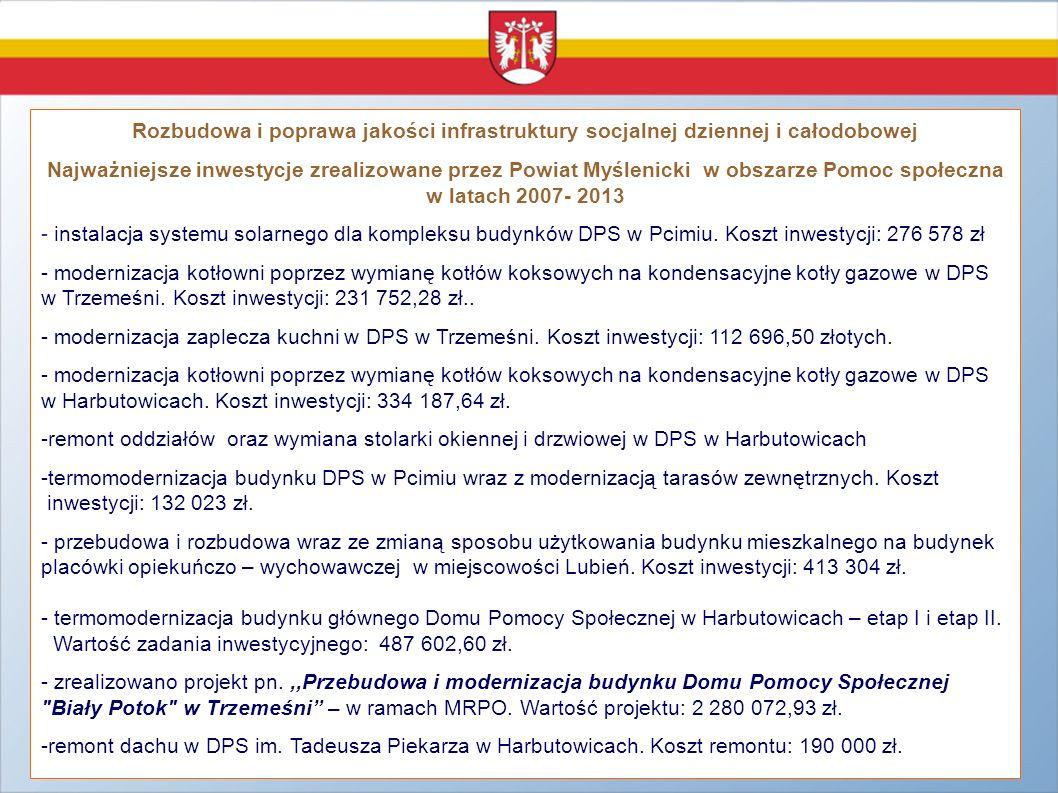Rozbudowa i poprawa jakości infrastruktury socjalnej dziennej i całodobowej Najważniejsze inwestycje zrealizowane przez Powiat Myślenicki w obszarze P