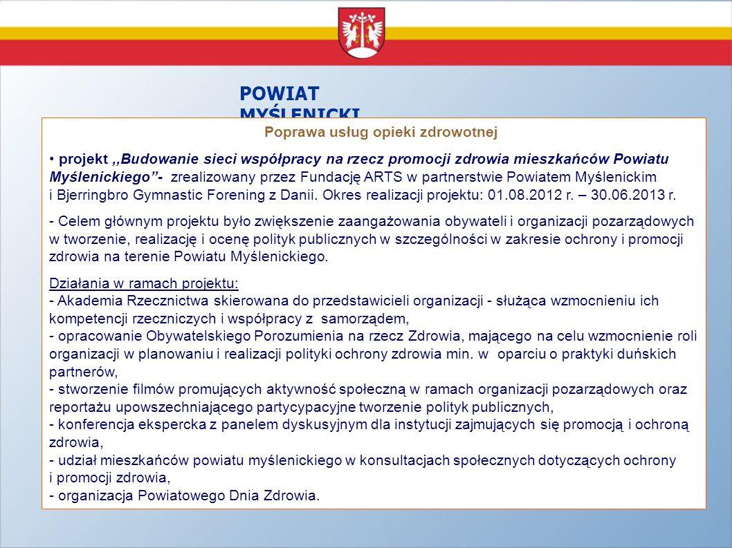 POWIAT MYŚLENICKI - Poprawa usług opieki zdrowotnej projekt,,Budowanie sieci współpracy na rzecz promocji zdrowia mieszkańców Powiatu Myślenickiego- z