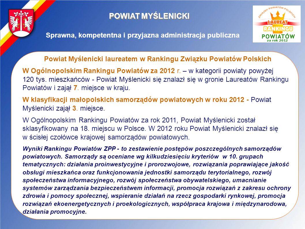 POWIAT MYŚLENICKI Sprawna, kompetentna i przyjazna administracja publiczna Powiat Myślenicki laureatem w Rankingu Związku Powiatów Polskich W Ogólnopo