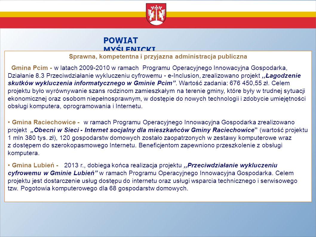 POWIAT MYŚLENICKI Sprawna, kompetentna i przyjazna administracja publiczna Gmina Pcim - w latach 2009-2010 w ramach Programu Operacyjnego Innowacyjna