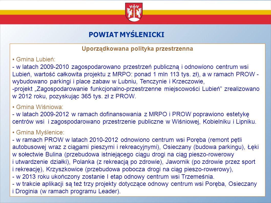 POWIAT MYŚLENICKI Uporządkowana polityka przestrzenna Gmina Lubień: - w latach 2009-2010 zagospodarowano przestrzeń publiczną i odnowiono centrum wsi