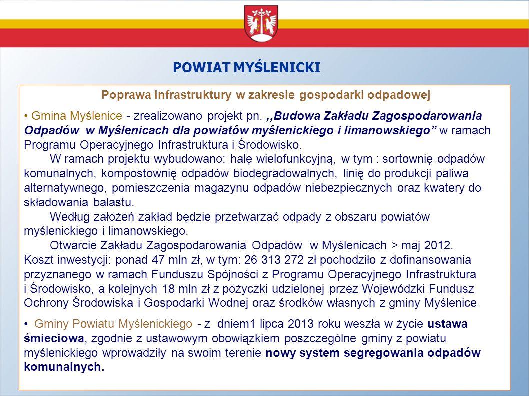 Projekty zrealizowane w szkołach ponadgimnazjalnych Powiatu Myślenickiego w latach 2007 – 2013 - Powiat Myślenicki realizuje projekt pn.,,Modernizacja kształcenia zawodowego w Małopolsce Jest to projekt systemowy realizowany w latach 2010 -2014 przez Województwo Małopolskie w ramach PO KL w partnerstwie z organami prowadzącymi szkoły zawodowe, którymi są małopolskie powiaty.