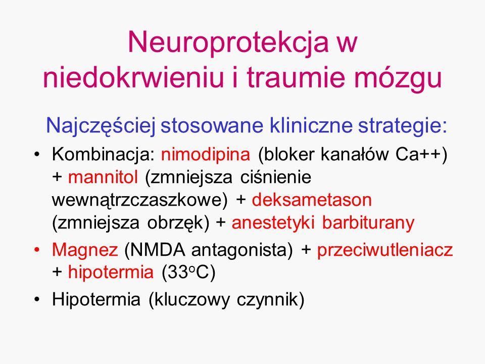 Neuroprotekcja w niedokrwieniu i traumie mózgu Najczęściej stosowane kliniczne strategie: Kombinacja: nimodipina (bloker kanałów Ca++) + mannitol (zmn