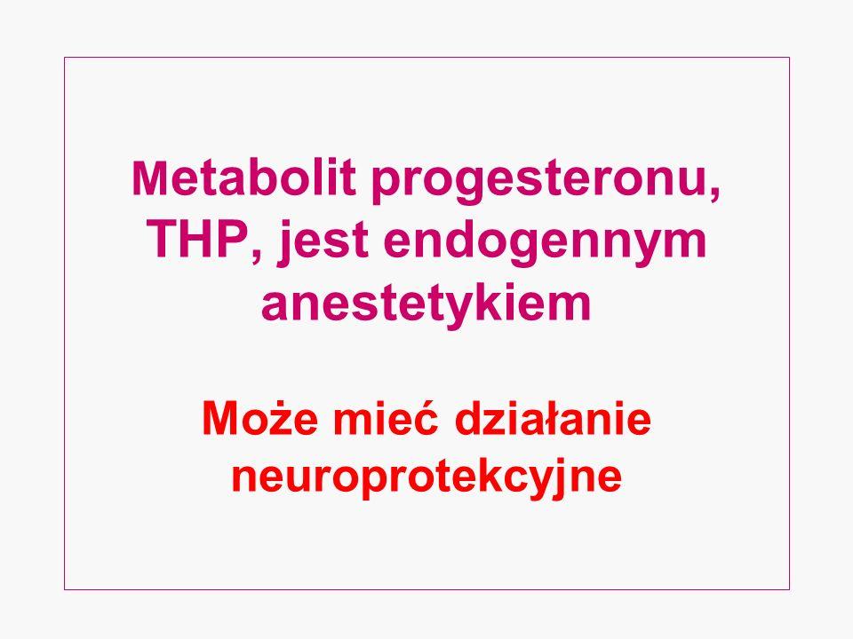 M etabolit progesteronu, THP, jest endogennym anestetykiem Może mieć działanie neuroprotekcyjne