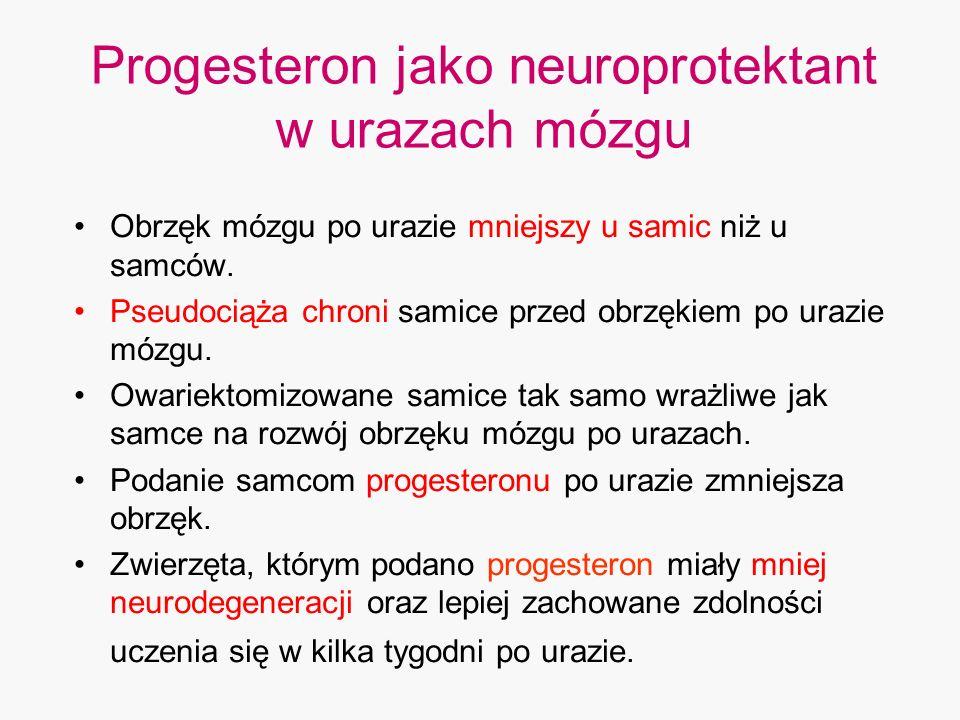 Progesteron jako neuroprotektant w urazach mózgu Obrzęk mózgu po urazie mniejszy u samic niż u samców. Pseudociąża chroni samice przed obrzękiem po ur