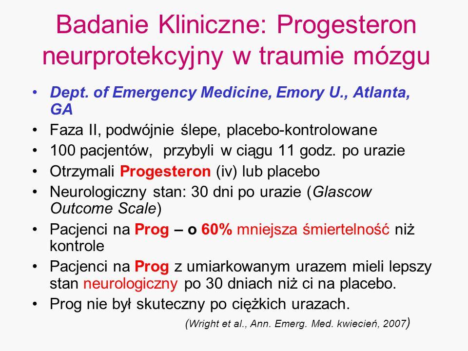 Badanie Kliniczne: Progesteron neurprotekcyjny w traumie mózgu Dept. of Emergency Medicine, Emory U., Atlanta, GA Faza II, podwójnie ślepe, placebo-ko