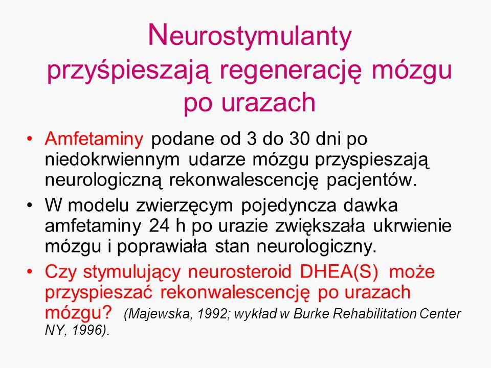 N eurostymulanty przyśpieszają regenerację mózgu po urazach Amfetaminy podane od 3 do 30 dni po niedokrwiennym udarze mózgu przyspieszają neurologiczn