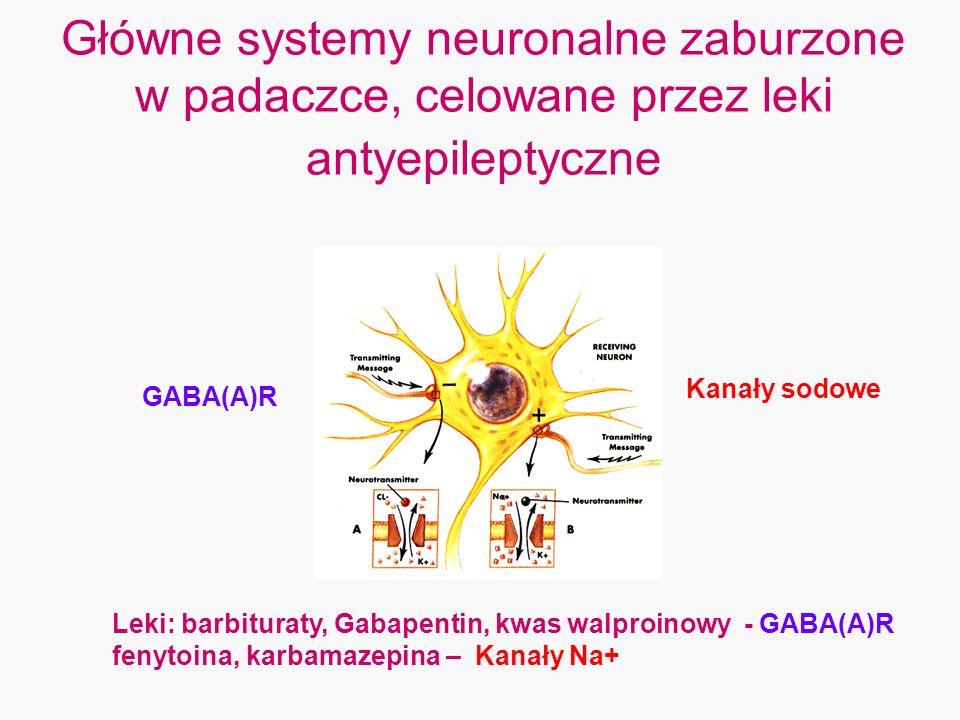 Główne systemy neuronalne zaburzone w padaczce, celowane przez leki antyepileptyczne GABA(A)R Kanały sodowe Leki: barbituraty, Gabapentin, kwas walpro