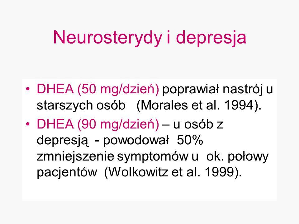 Neurosterydy i depresja DHEA (50 mg/dzień) poprawiał nastrój u starszych osób (Morales et al. 1994). DHEA (90 mg/dzień) – u osób z depresją - powodowa