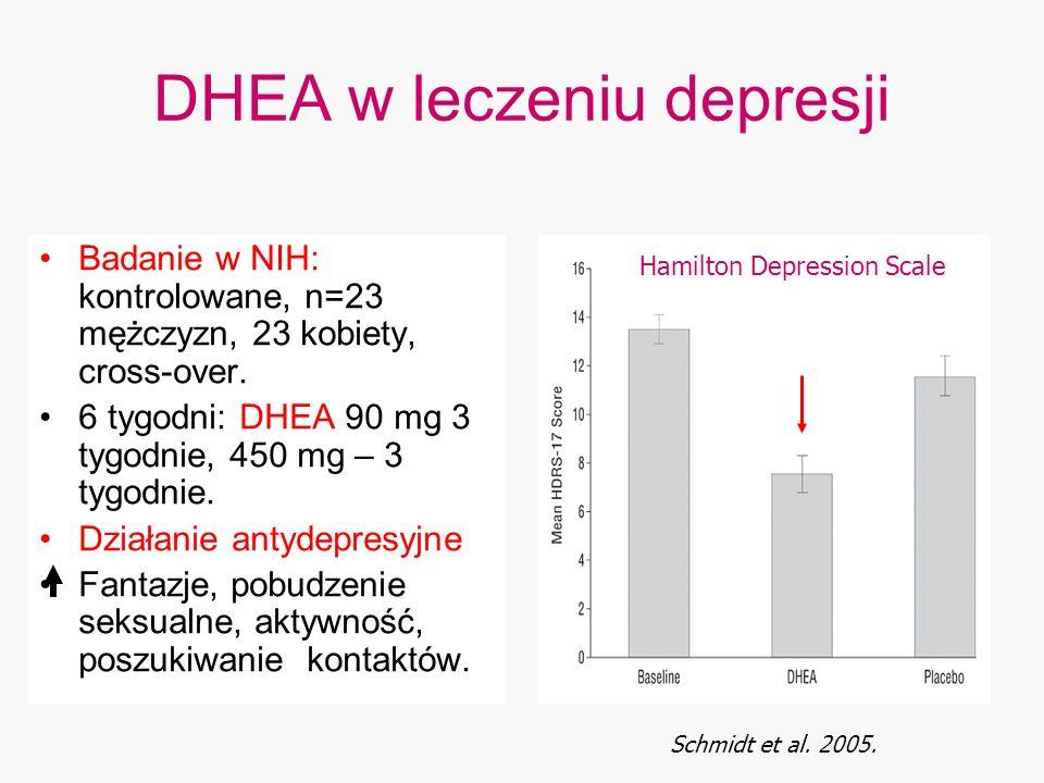 DHEA w leczeniu depresji Badanie w NIH: kontrolowane, n=23 mężczyzn, 23 kobiety, cross-over. 6 tygodni: DHEA 90 mg 3 tygodnie, 450 mg – 3 tygodnie. Dz