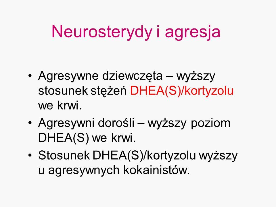 Neurosterydy i agresja Agresywne dziewczęta – wyższy stosunek stężeń DHEA(S)/kortyzolu we krwi. Agresywni dorośli – wyższy poziom DHEA(S) we krwi. Sto