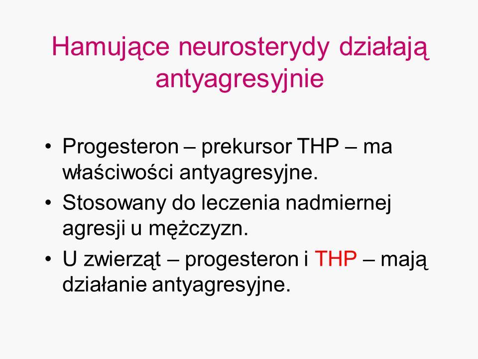 Hamujące neurosterydy działają antyagresyjnie Progesteron – prekursor THP – ma właściwości antyagresyjne. Stosowany do leczenia nadmiernej agresji u m
