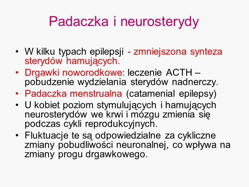 Padaczka i neurosterydy W kilku typach epilepsji - zmniejszona synteza sterydów hamujących. Drgawki noworodkowe: leczenie ACTH – pobudzenie wydzielani