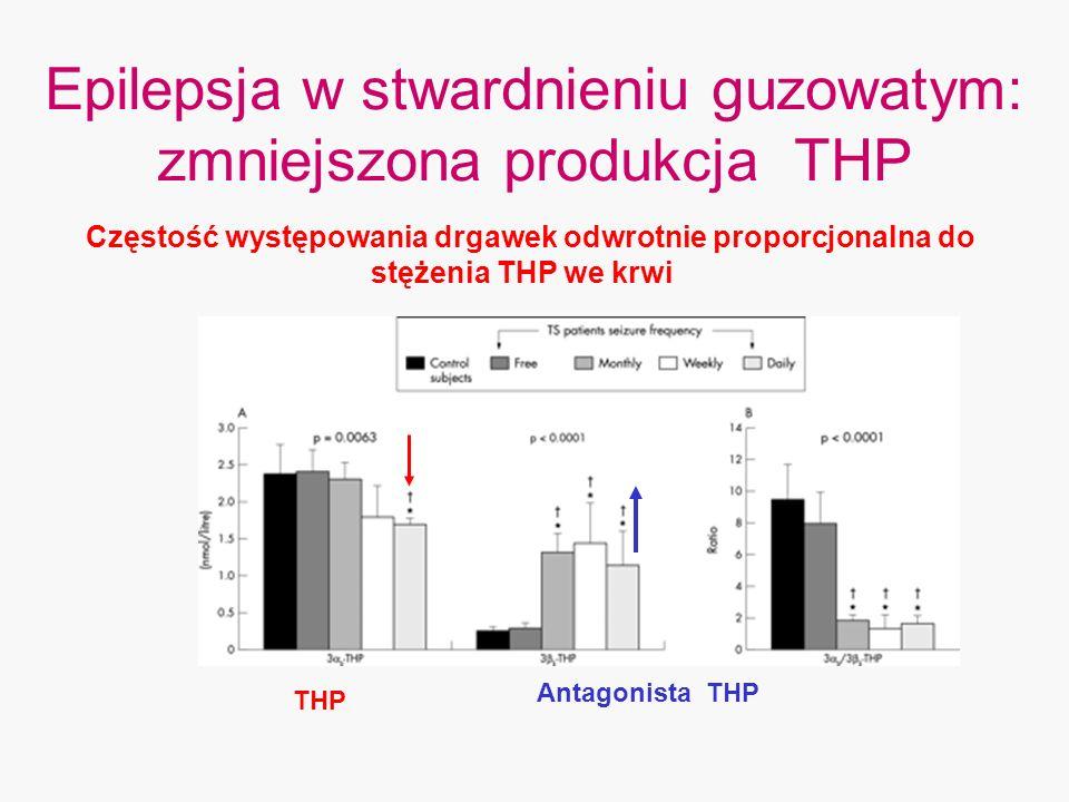 Epilepsja w stwardnieniu guzowatym: zmniejszona produkcja THP THP Antagonista THP Częstość występowania drgawek odwrotnie proporcjonalna do stężenia T