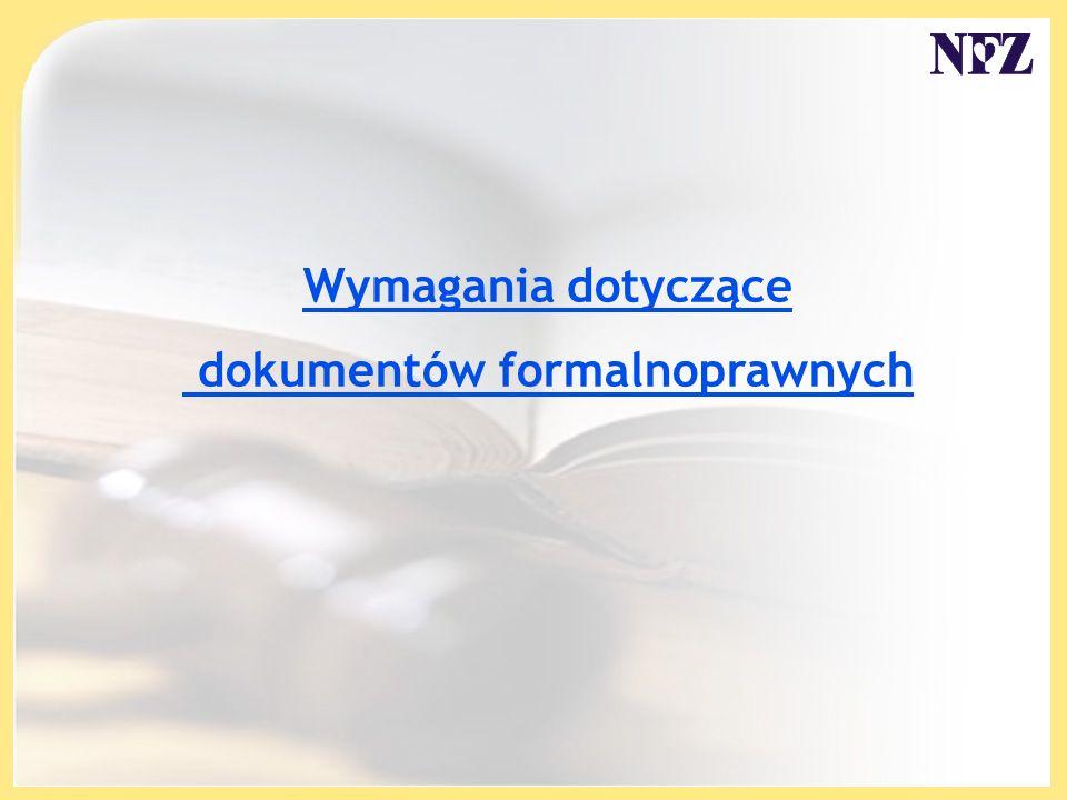 Wymagania dotyczące dokumentów formalnoprawnych
