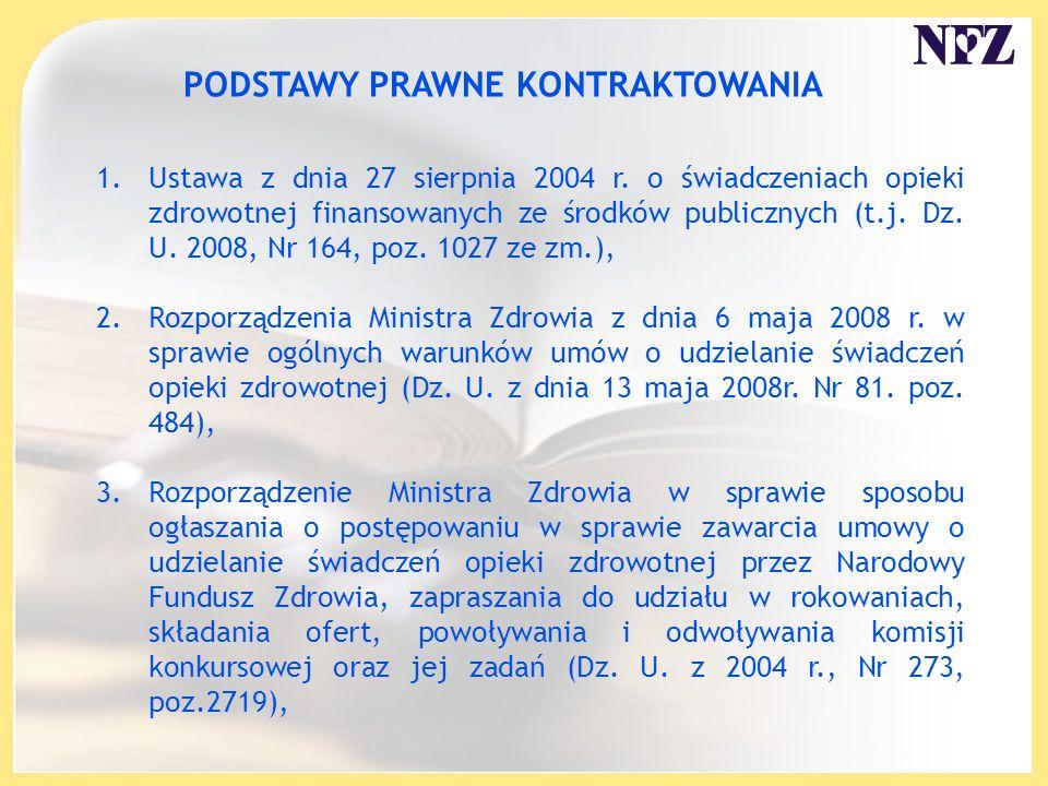 PODSTAWY PRAWNE KONTRAKTOWANIA 1.Ustawa z dnia 27 sierpnia 2004 r. o świadczeniach opieki zdrowotnej finansowanych ze środków publicznych (t.j. Dz. U.
