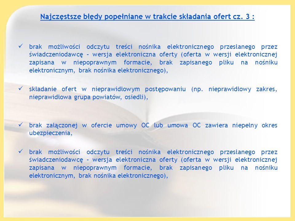 Najczęstsze błędy popełniane w trakcie składania ofert cz. 3 : brak możliwości odczytu treści nośnika elektronicznego przesłanego przez świadczeniodaw