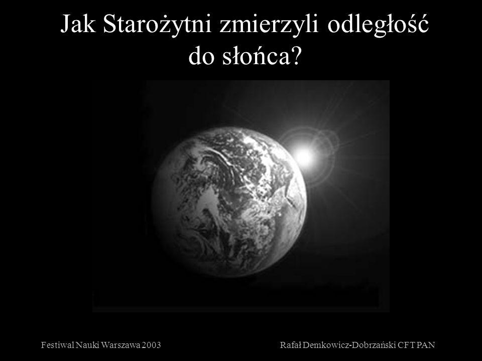 Jak Starożytni zmierzyli odległość do słońca? Festiwal Nauki Warszawa 2003Rafał Demkowicz-Dobrzański CFT PAN