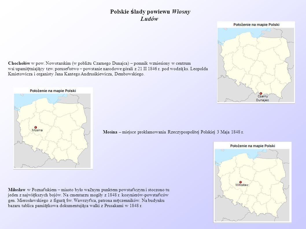 Chochołów w pow. Nowotarskim (w pobliżu Czarnego Dunajca) – pomnik wzniesiony w centrum wsi upami ę tniaj ą cy tzw. poruse ń stwo – powstanie narodowe