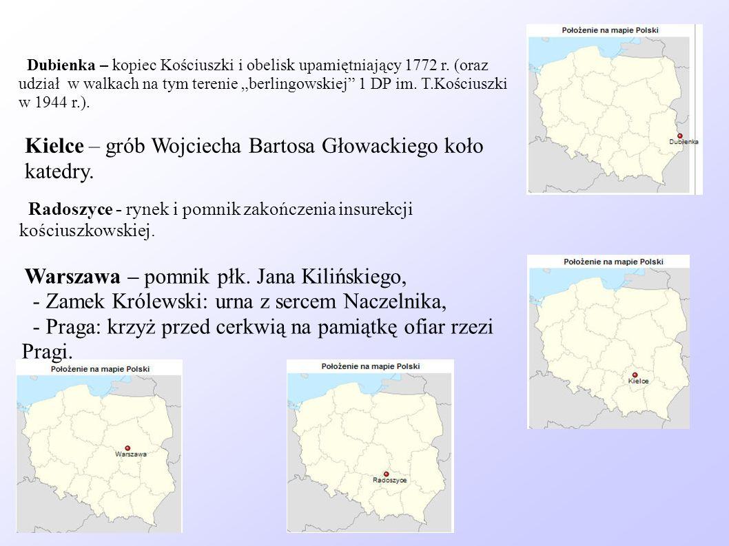 Warszawa – pomnik płk. Jana Kilińskiego, - Zamek Królewski: urna z sercem Naczelnika, - Praga: krzyż przed cerkwią na pamiątkę ofiar rzezi Pragi. Kiel