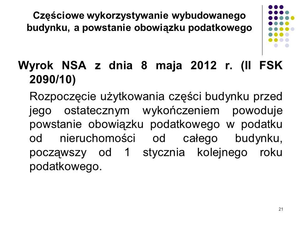 21 Częściowe wykorzystywanie wybudowanego budynku, a powstanie obowiązku podatkowego Wyrok NSA z dnia 8 maja 2012 r. (II FSK 2090/10) Rozpoczęcie użyt