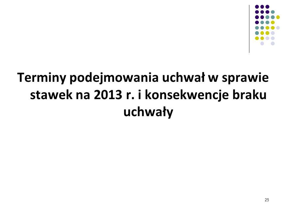 25 Terminy podejmowania uchwał w sprawie stawek na 2013 r. i konsekwencje braku uchwały