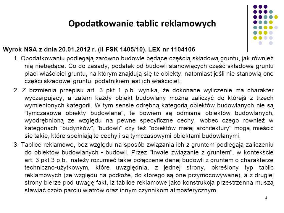 4 Opodatkowanie tablic reklamowych Wyrok NSA z dnia 20.01.2012 r. (II FSK 1405/10), LEX nr 1104106 1. Opodatkowaniu podlegają zarówno budowle będące c