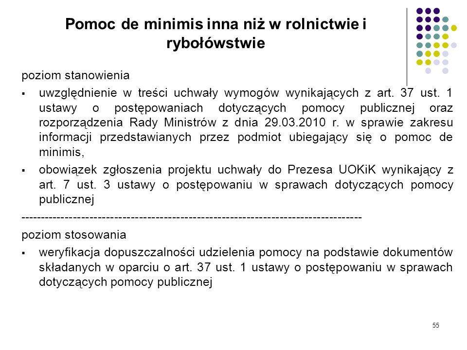 55 Pomoc de minimis inna niż w rolnictwie i rybołówstwie poziom stanowienia uwzględnienie w treści uchwały wymogów wynikających z art. 37 ust. 1 ustaw