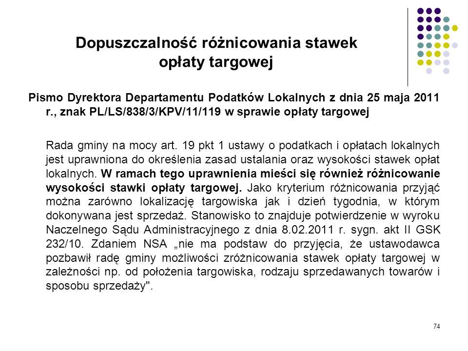 74 Dopuszczalność różnicowania stawek opłaty targowej Pismo Dyrektora Departamentu Podatków Lokalnych z dnia 25 maja 2011 r., znak PL/LS/838/3/KPV/11/