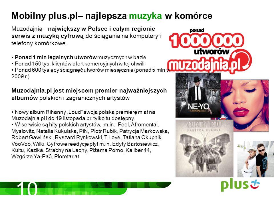 10 Mobilny plus.pl– najlepsza muzyka w komórce Muzodajnia - największy w Polsce i całym regionie serwis z muzyką cyfrową do ściągania na komputery i telefony komórkowe.
