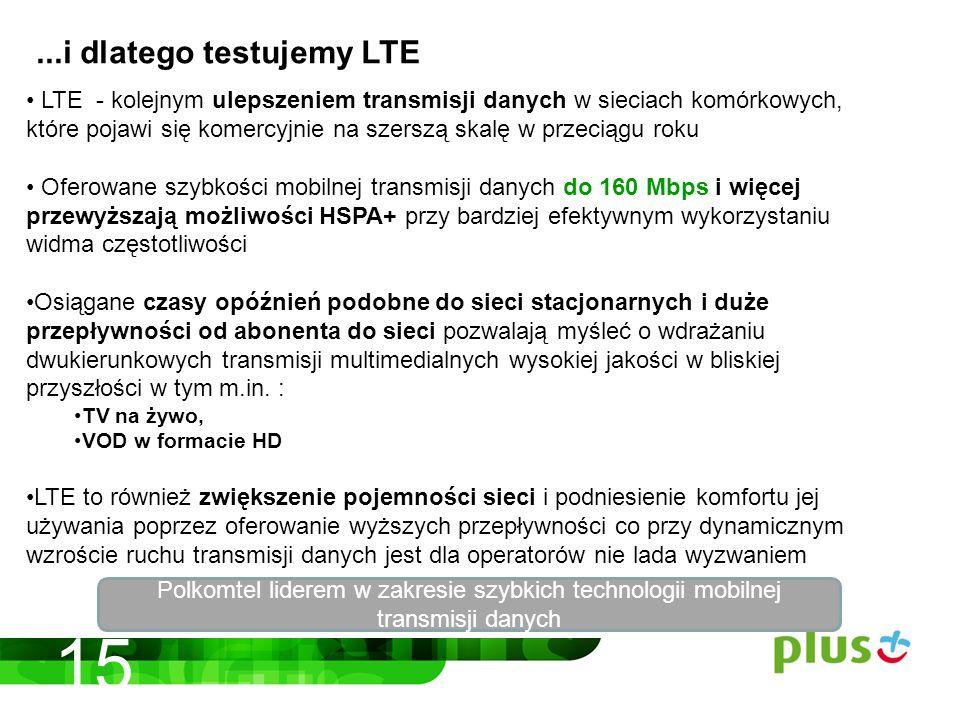 LTE - kolejnym ulepszeniem transmisji danych w sieciach komórkowych, które pojawi się komercyjnie na szerszą skalę w przeciągu roku Oferowane szybkości mobilnej transmisji danych do 160 Mbps i więcej przewyższają możliwości HSPA+ przy bardziej efektywnym wykorzystaniu widma częstotliwości Osiągane czasy opóźnień podobne do sieci stacjonarnych i duże przepływności od abonenta do sieci pozwalają myśleć o wdrażaniu dwukierunkowych transmisji multimedialnych wysokiej jakości w bliskiej przyszłości w tym m.in.