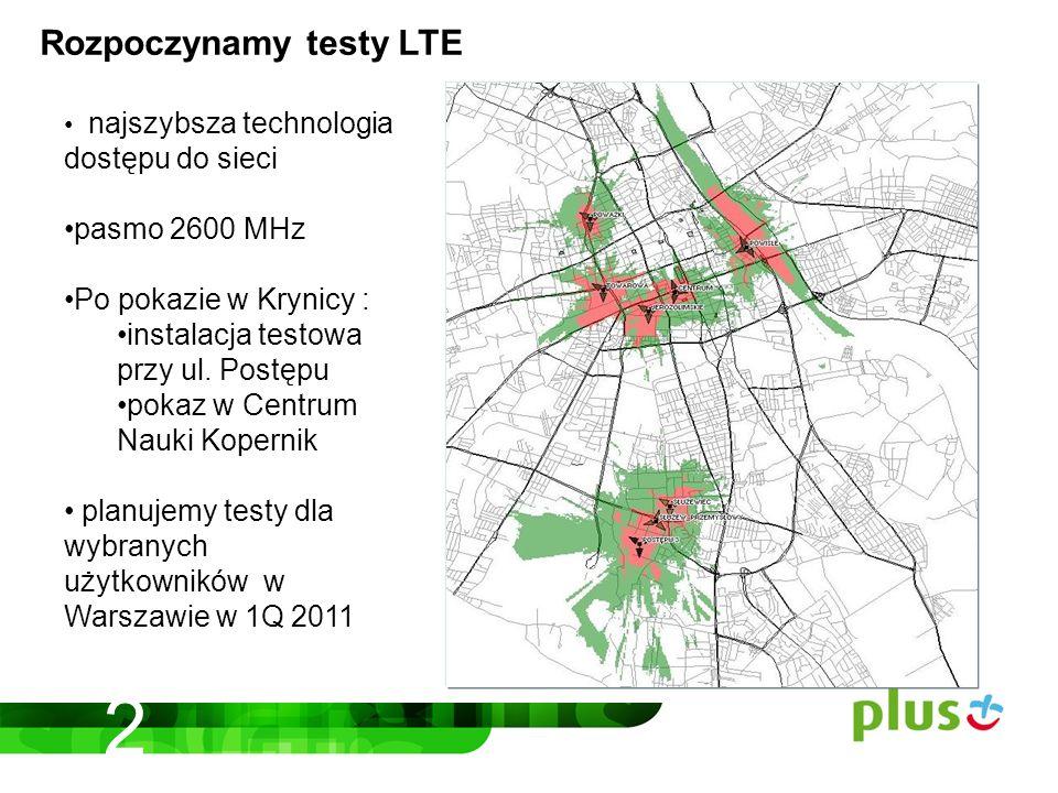 Rozpoczynamy testy LTE najszybsza technologia dostępu do sieci pasmo 2600 MHz Po pokazie w Krynicy : instalacja testowa przy ul.