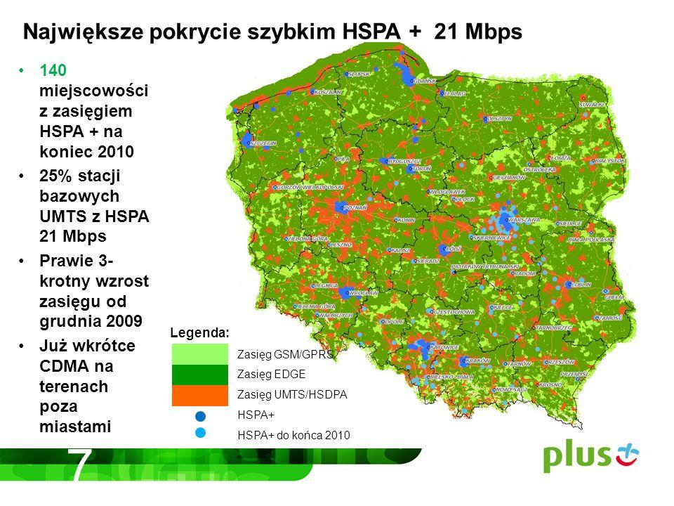 140 miejscowości z zasięgiem HSPA + na koniec 2010 25% stacji bazowych UMTS z HSPA 21 Mbps Prawie 3- krotny wzrost zasięgu od grudnia 2009 Już wkrótce CDMA na terenach poza miastami Legenda: Zasięg GSM/GPRS Zasięg EDGE Zasięg UMTS/HSDPA HSPA+ HSPA+ do końca 2010 Największe pokrycie szybkim HSPA + 21 Mbps 7