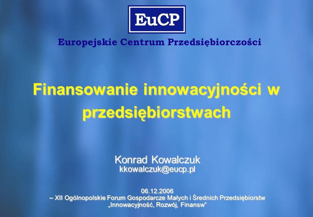 2 Europejskie Centrum Przedsiębiorczości »Wspieramy rozwój polskich przedsiębiorstw w pozyskiwaniu finansowania, ze szczególnym uwzględnieniem środków unijnych (do października 2006 roku pozyskaliśmy ponad 163 mln PLN dotacji) »Zajęliśmy 7 miejsce w Polsce w rankingu na najskuteczniejszego doradcę w zakresie dotacji unijnych* »Zajmujemy się doradztwem strategicznym, finansowym i inwestycyjnym dla przedsiębiorców, w szczególności MSP »Realizujemy projekt szkoleniowy: Akademia Innowacji i Venture Capital www.finanse.eucp.pl *ranking przeprowadzony i opublikowany przez czasopismo Fundusze Europejskie, nr luty – marzec 2006