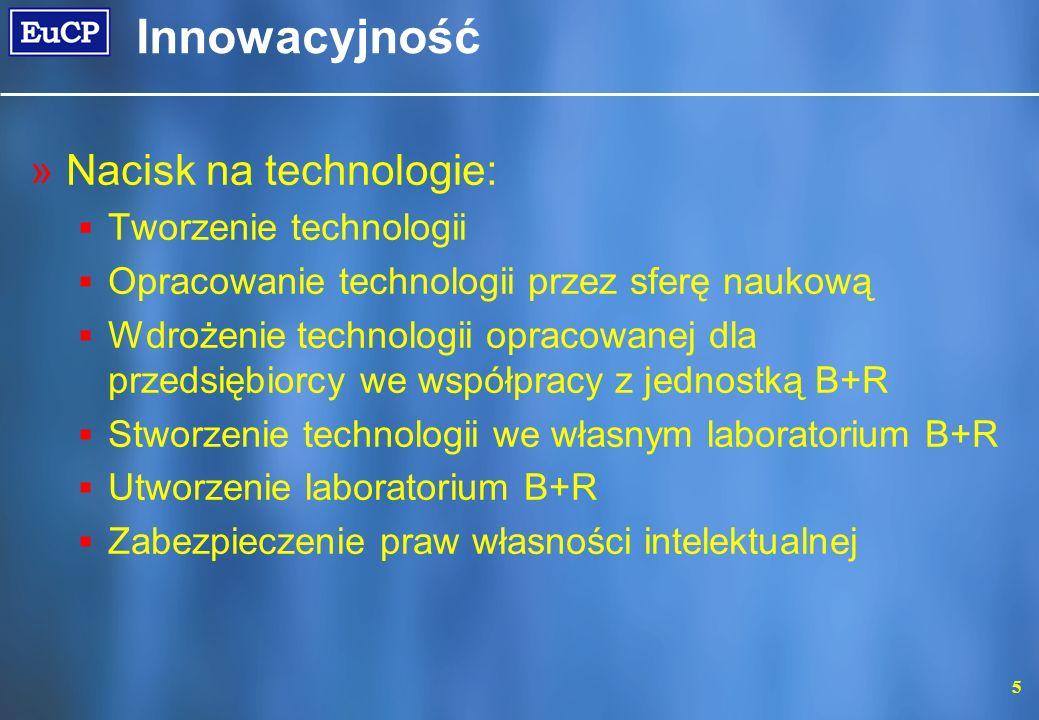 5 Innowacyjność »Nacisk na technologie: Tworzenie technologii Opracowanie technologii przez sferę naukową Wdrożenie technologii opracowanej dla przeds