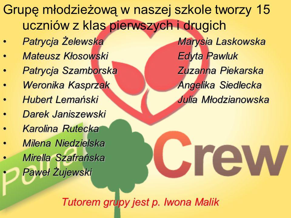 Grupę młodzieżową w naszej szkole tworzy 15 uczniów z klas pierwszych i drugich Patrycja ŻelewskaMarysia LaskowskaPatrycja ŻelewskaMarysia Laskowska M
