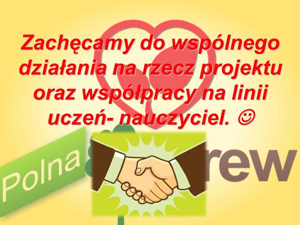 Zachęcamy do wspólnego działania na rzecz projektu oraz współpracy na linii uczeń- nauczyciel. Zachęcamy do wspólnego działania na rzecz projektu oraz