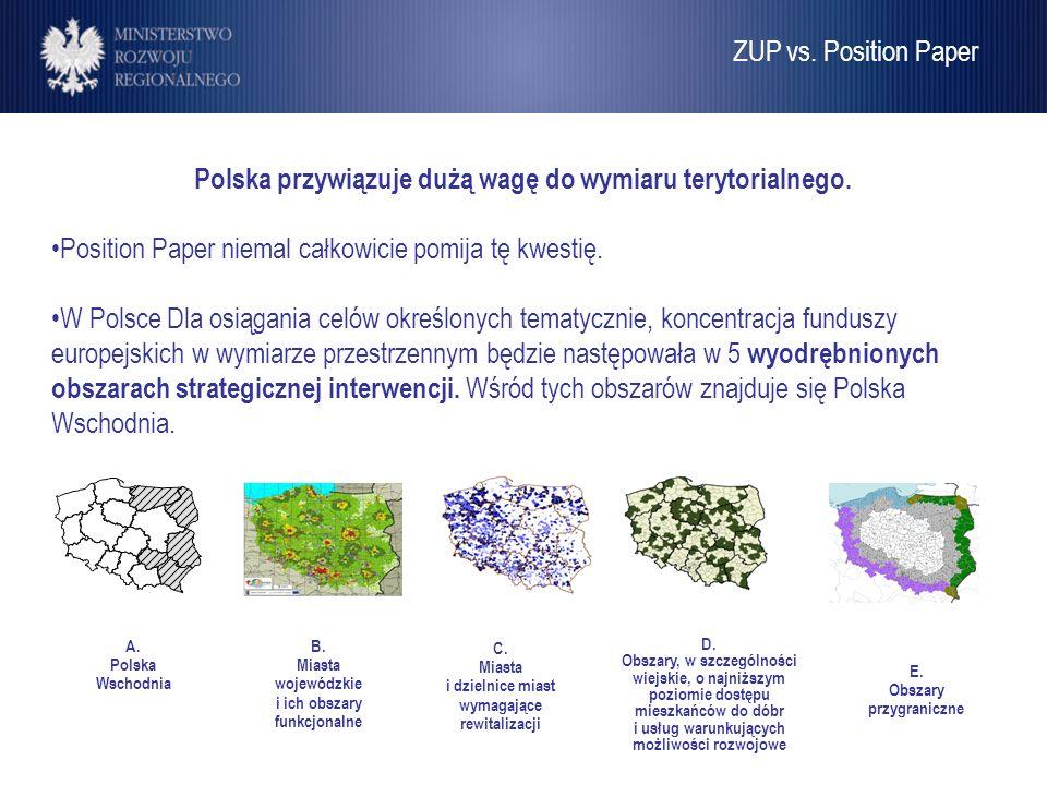Umowa Partnerstwa Polska przywiązuje dużą wagę do wymiaru terytorialnego. Position Paper niemal całkowicie pomija tę kwestię. W Polsce Dla osiągania c