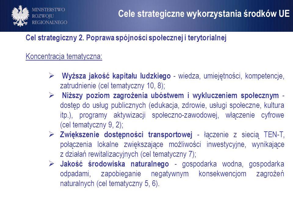 Umowa Partnerstwa Cel strategiczny 2. Poprawa spójności społecznej i terytorialnej Koncentracja tematyczna: Wyższa jakość kapitału ludzkiego - wiedza,
