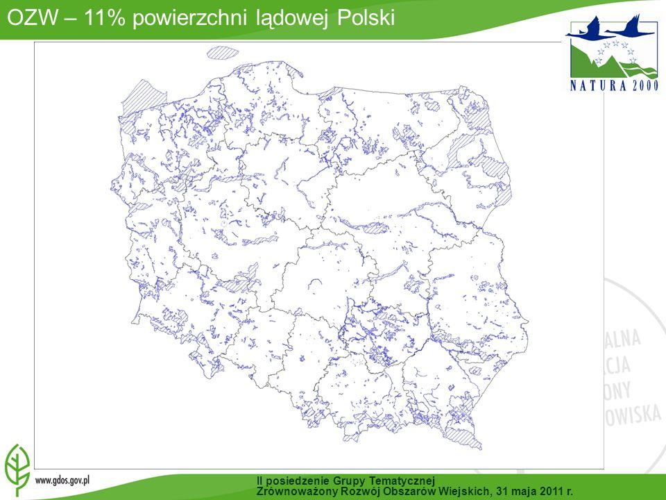 OZW – 11% powierzchni lądowej Polski II posiedzenie Grupy Tematycznej Zrównoważony Rozwój Obszarów Wiejskich, 31 maja 2011 r.
