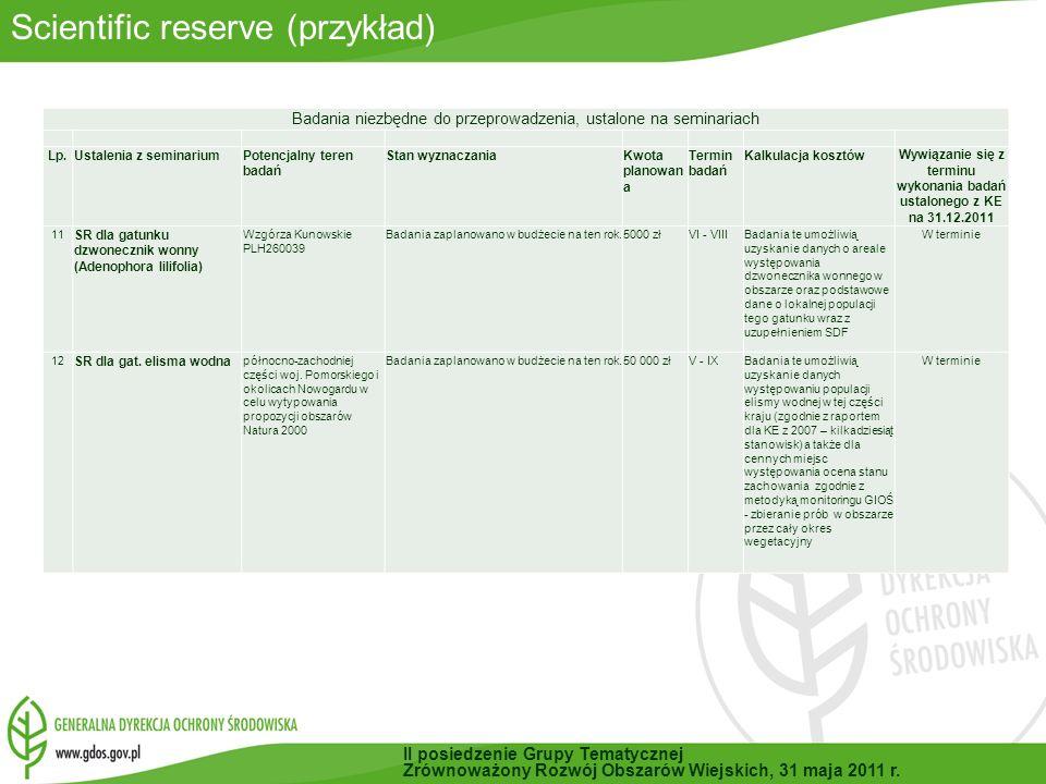 Scientific reserve (przykład) Badania niezbędne do przeprowadzenia, ustalone na seminariach Lp.Ustalenia z seminariumPotencjalny teren badań Stan wyznaczaniaKwota planowan a Termin badań Kalkulacja kosztów Wywiązanie się z terminu wykonania badań ustalonego z KE na 31.12.2011 11 SR dla gatunku dzwonecznik wonny (Adenophora lilifolia) Wzgórza Kunowskie PLH260039 Badania zaplanowano w budżecie na ten rok.5000 złVI - VIIIBadania te umożliwią uzyskanie danych o areale występowania dzwonecznika wonnego w obszarze oraz podstawowe dane o lokalnej populacji tego gatunku wraz z uzupełnieniem SDF W terminie 12 SR dla gat.