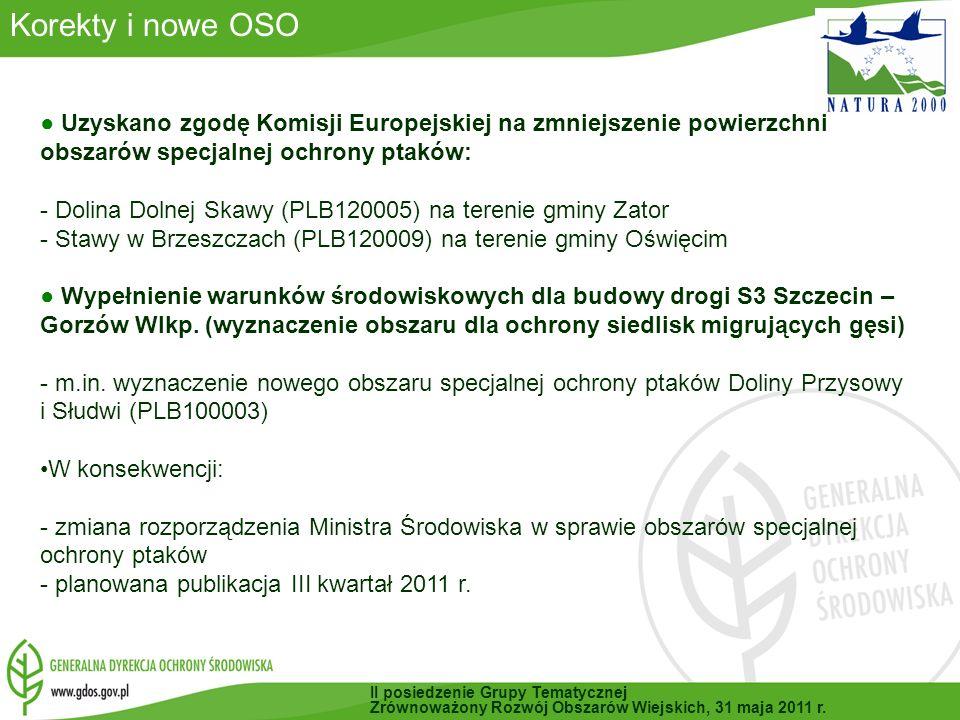 Korekty i nowe OSO Uzyskano zgodę Komisji Europejskiej na zmniejszenie powierzchni obszarów specjalnej ochrony ptaków: - Dolina Dolnej Skawy (PLB120005) na terenie gminy Zator - Stawy w Brzeszczach (PLB120009) na terenie gminy Oświęcim Wypełnienie warunków środowiskowych dla budowy drogi S3 Szczecin – Gorzów Wlkp.
