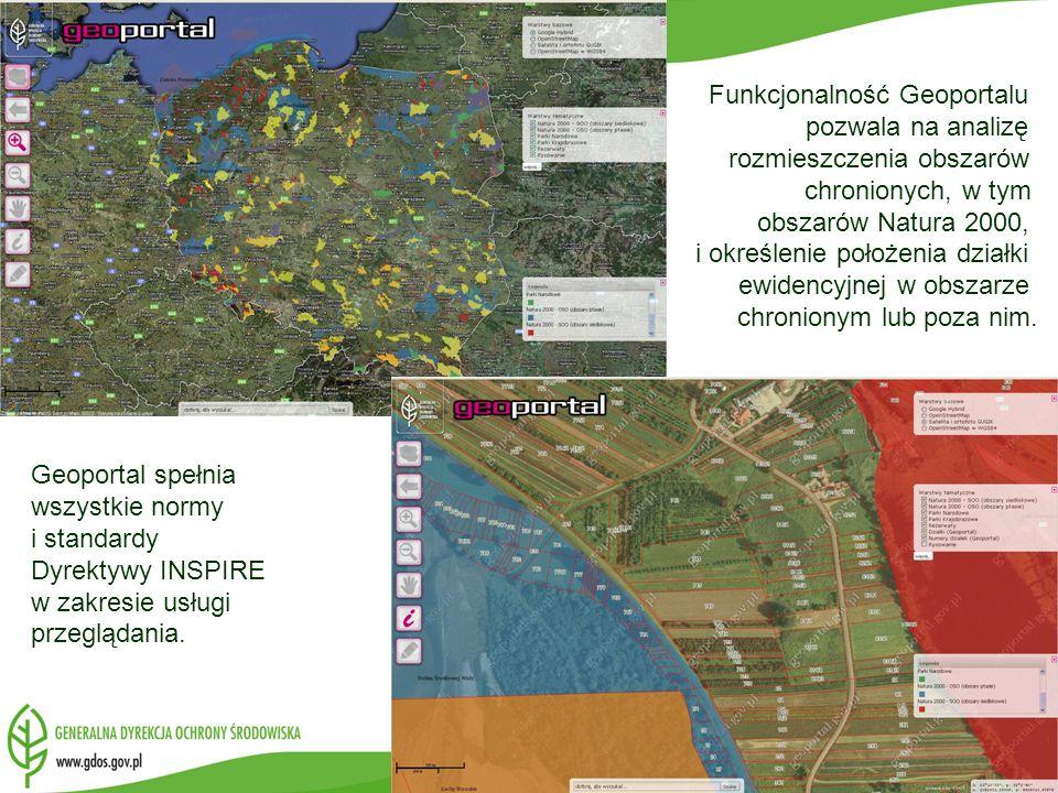 Funkcjonalność Geoportalu pozwala na analizę rozmieszczenia obszarów chronionych, w tym obszarów Natura 2000, i określenie położenia działki ewidencyjnej w obszarze chronionym lub poza nim.